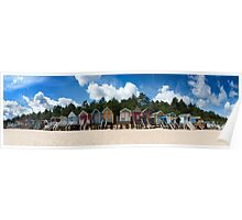 Beach Hut Panorama  Poster