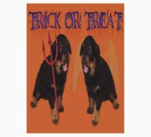 Cute Rottweiler Halloween Trick or Treat Greeting One Piece - Long Sleeve