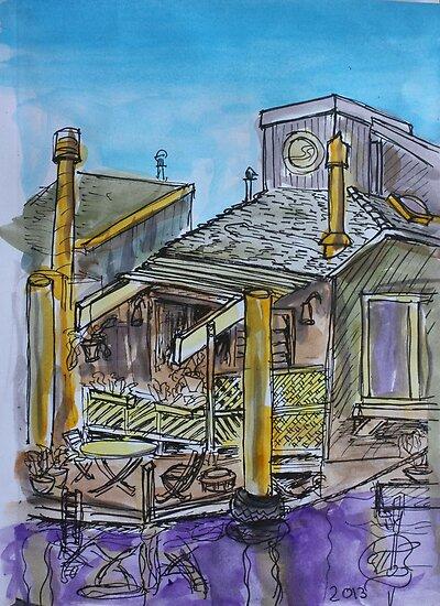 Watercolor Sketch - 7 Issaquah Dock, Sausalito, Califonia 2012 by Igor Pozdnyakov
