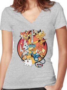 Thundermice Hooooo Women's Fitted V-Neck T-Shirt