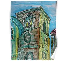 Watercolor Sketch - A Church Campanile in Genoa, Italy. 2012 Poster