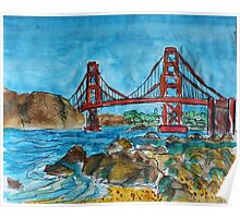 Watercolor Sketch - Golden Gate Bridge. 2013 Poster