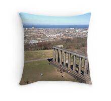 View of the National Monument of Scotland, Calton Hill.  Edinburgh Throw Pillow