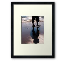 Man walking on the sand Framed Print