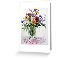 Floral in Primary Colours Greeting Card