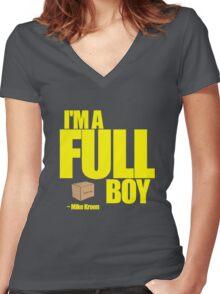 I'M A FULL BOY! Women's Fitted V-Neck T-Shirt
