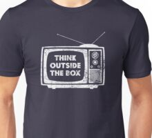 Think Outside The Box! (white) Unisex T-Shirt