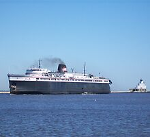 Badger Car Ferry Coming Into Port by Laurie Kutil