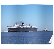 Badger Car Ferry Coming Into Port Poster