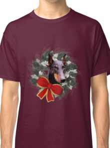 Doberman Face Holiday Wreath  Classic T-Shirt