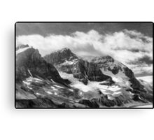 Canadian Rockies In Black & White Canvas Print