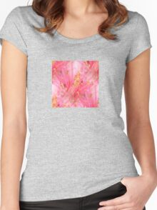 Seamless Peach Blossom Women's Fitted Scoop T-Shirt