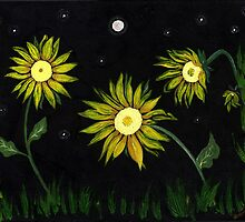Sunflowers on a Starry Night by Anne Gitto