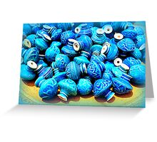 Blue pottery ceramic knobs Greeting Card