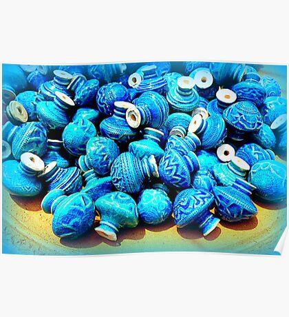 Blue pottery ceramic knobs Poster