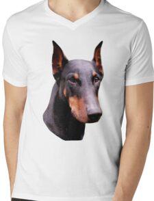 Pretty Black Doberman Pinscher Face  Mens V-Neck T-Shirt