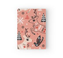 Holiday Folk in Pink Peppermint  Hardcover Journal