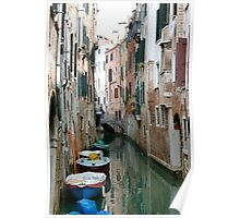 Venetian canal & boats Poster