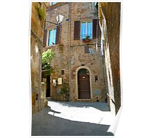 sun on the side streets of Siena Poster