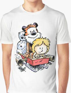 Calvin and Hobbes Inspired Stars Wars Graphic T-Shirt