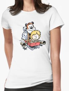 Calvin and Hobbes Inspired Stars Wars Womens Fitted T-Shirt