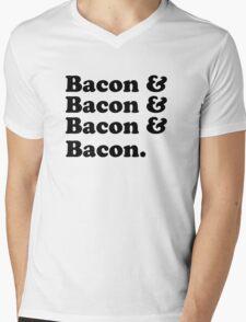 Bacon & Bacon & Bacon & Bacon Mens V-Neck T-Shirt