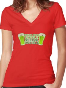 Feeling Single Seeing Double St Patrick's Day Women's Fitted V-Neck T-Shirt