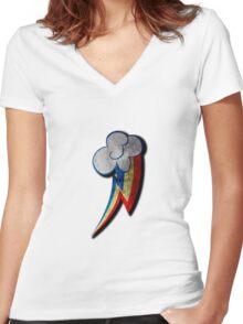 Rainbow Dash Grunge Cutie Mark Women's Fitted V-Neck T-Shirt