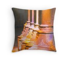 Batalha Monastery. stained glass colors on stone Throw Pillow