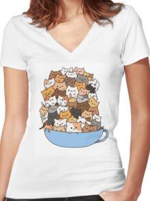 Mug Kittens Women's Fitted V-Neck T-Shirt