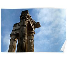 blue skies and ancient columns Poster