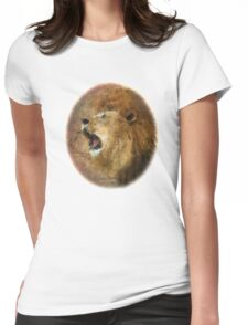 Roaring Lion in Watercolor and Ink Painterly Womens Fitted T-Shirt