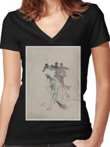 A man sweeping pine needles that have fallen from a tree near a stone shrine 001 Women's Fitted V-Neck T-Shirt