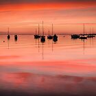 Boats On A Haze of Pink by Alan  Wright