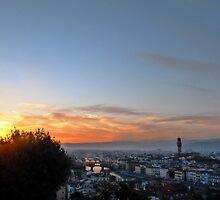 Florentine skyline at sunset by kejube