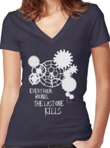 All the Hours (white) Women's Fitted V-Neck T-Shirt