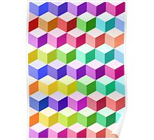 Cube Pattern Multicolored Poster