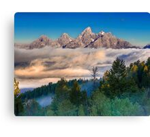 Tetons Above The Clouds Canvas Print