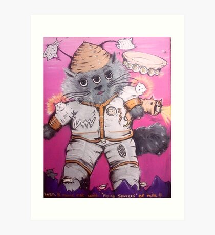 3 eyed bmovie cat with flying saucers of milk Art Print
