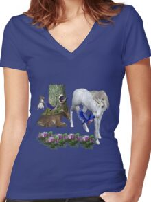 White Unicorn And Friends  Women's Fitted V-Neck T-Shirt