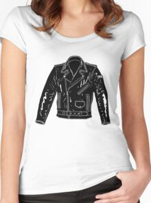 Black Leather Jacket Women's Fitted Scoop T-Shirt