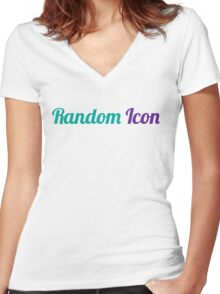 Random Icon Grapes Women's Fitted V-Neck T-Shirt