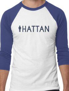 Man hattan Tee - Yankee Blue Lettering Men's Baseball ¾ T-Shirt