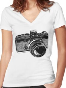 Camera Illustration Women's Fitted V-Neck T-Shirt