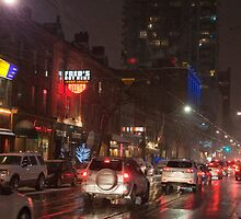 King Street Looking West of John Street In The Evening In The Snow by Gary Chapple