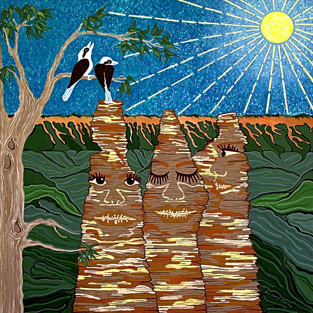The Three Sisters, Katoomba, Australia by Lisa Frances Judd~QuirkyHappyArt