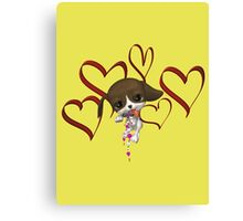 Cute Puppy And Hearts  Canvas Print
