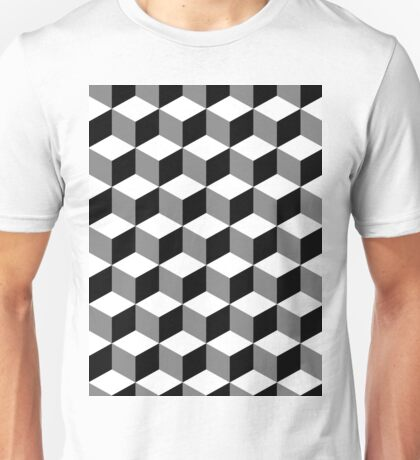 Cube Pattern Black White Grey Unisex T-Shirt