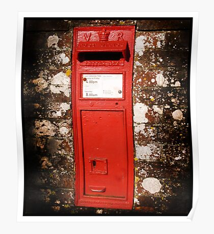 Red Rural Victorian Post Box Poster