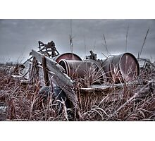 Old wagon in field Photographic Print